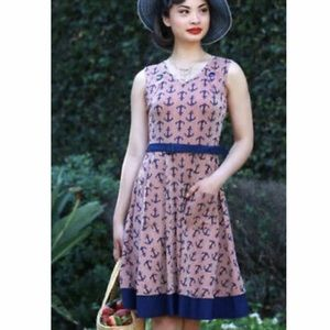 ModCloth NWT Effie Heart Anchor Print Belted Dress